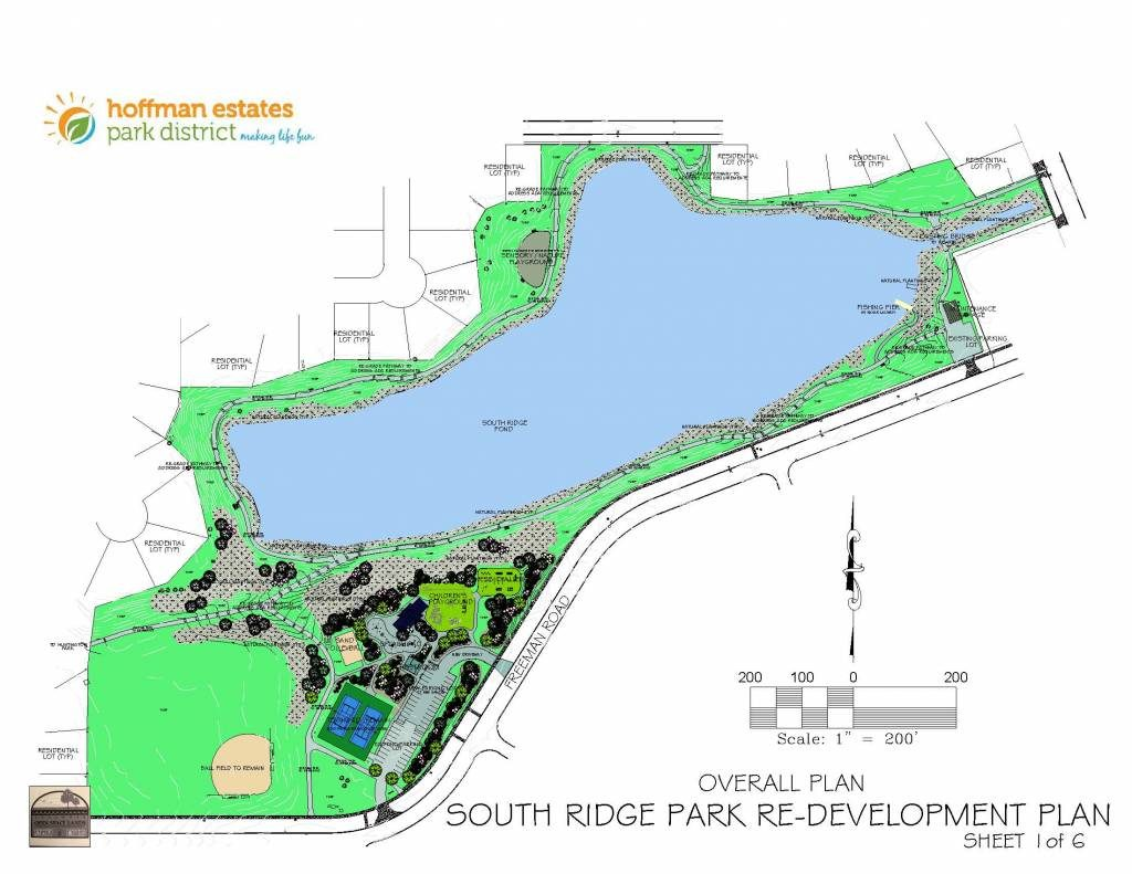 Project plan for South Ridge Park. The image shows the lake, location of updated play features and new amenities