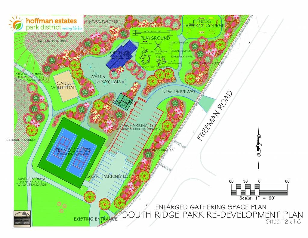 Proposed plan for South Ridge park construction showing extended parking lot, tennis/pickleball courts, splash pad, playground, fitness court, picnic shelter, restrooms and volleyball.