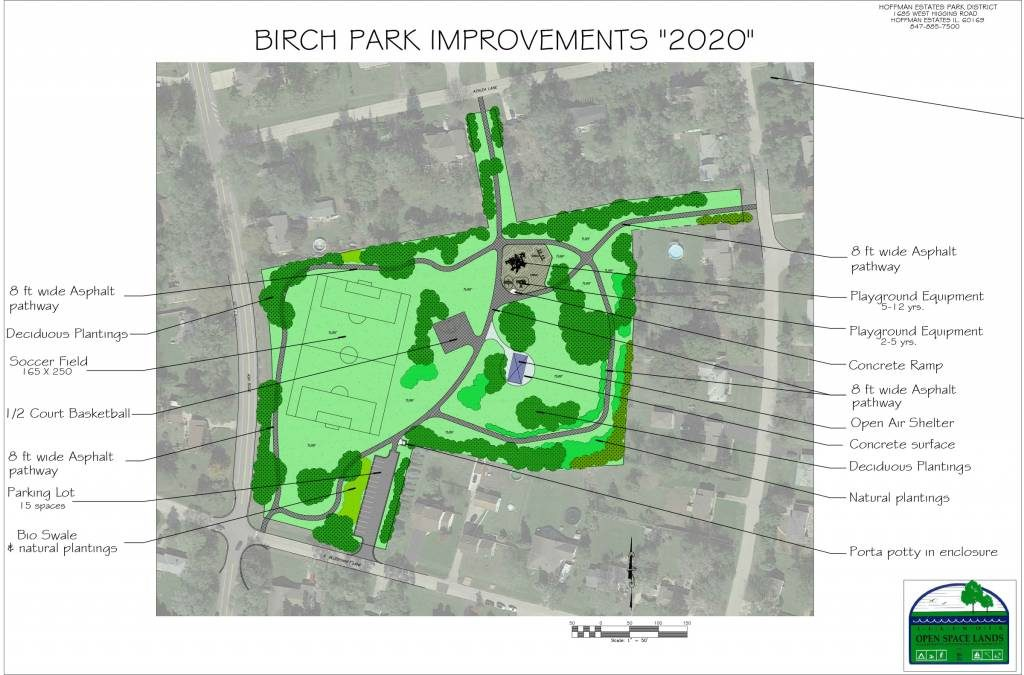 Proposed plan for Birch Park Project, includes a 0.33 mile pathway, basketball court, updated playground and soccer field, open air shelter, parking lot, and natural plants.