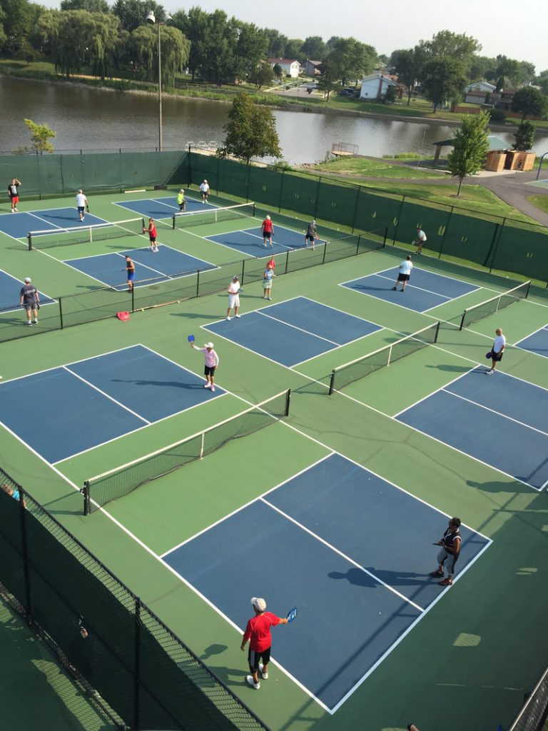The six outdoor pickleball courts at Fabbrini Park.