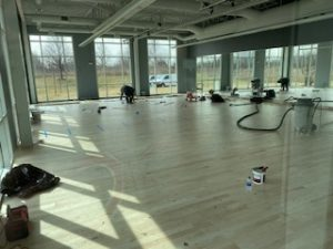 New paint and flooring inside new yoga room.