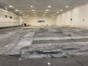 Heating mats placed for removal of permafrost