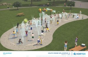 Picture features the 4,000 sq splash pad, with different water buckets and spray features.