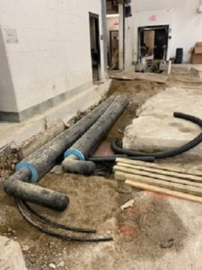 New installation of main lines for rink ammonia system.