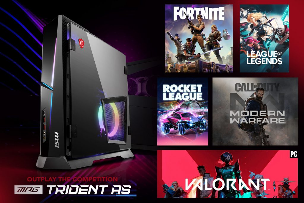 Outplay the competition on the MPG TRIDENT AS. PC Games include Fortnite, League of Legends, Rocket League, Call of Duty and Valorant
